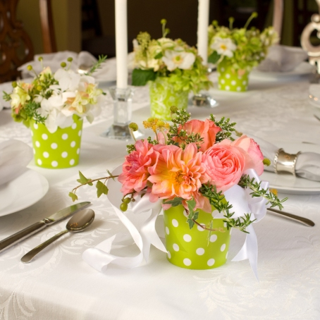 Wedding flowers that double as centerpieces and party favors.